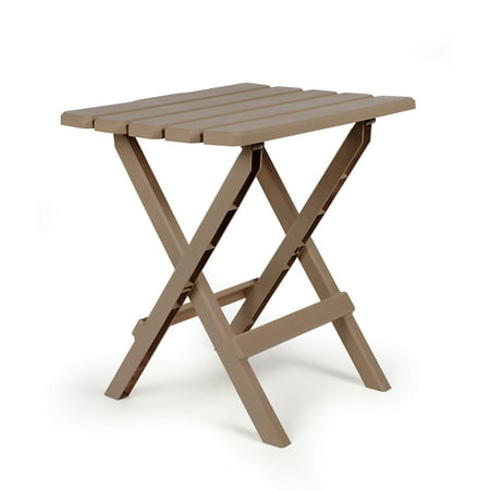 Camco Large Adirondack Portable Outdoor Folding Side Table, Perfect for The Beach, Camping, Picnics, Cookouts and More, Weatherproof and Rust Resistant - Taupe (51887) (Walmart Camping Table)