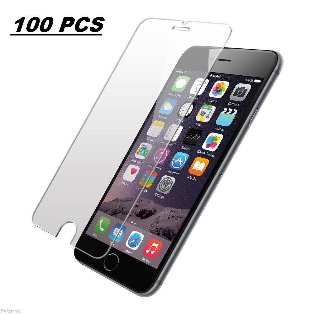 AmazingForLess 100X Premium Tempered Glass Screen Protectors - Wholesale Lot 100 PCS of Screen Protectors for iPhone 6/6S (NON-RETAIL PACKAGING)