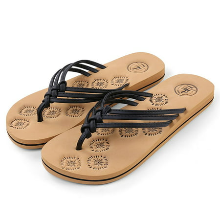 AERUSI Livi Life Women's Indoor or Outdoor Casual Walking Flip Flop Sandals (Black) (Rockport Walking Sandals)