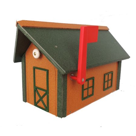 Beaver Dam Poly Mailbox With Poly Roof in Cedar w/ -