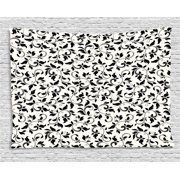 Leaf Tapestry, Black and White Pattern with Swirled Skinny Branches with Leaves Old Fashioned Scroll, Wall Hanging for Bedroom Living Room Dorm Decor, 60W X 40L Inches, Black Cream, by Ambesonne