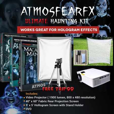 Halloween Atmosfearfx Ghostly Apparitions, Phantasms and Macabre Manor Video Projector Kit, 1900 Lumen Projector with 800 x 460 - Halloween 1900