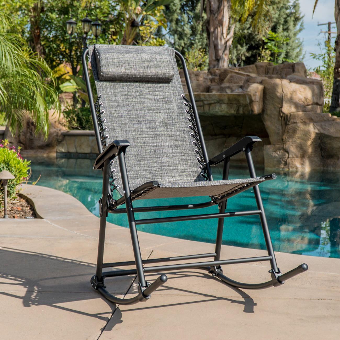 Belleze bungee suspension zero gravity chair folding rocking chair head pillow outdoor backyard canopy gray
