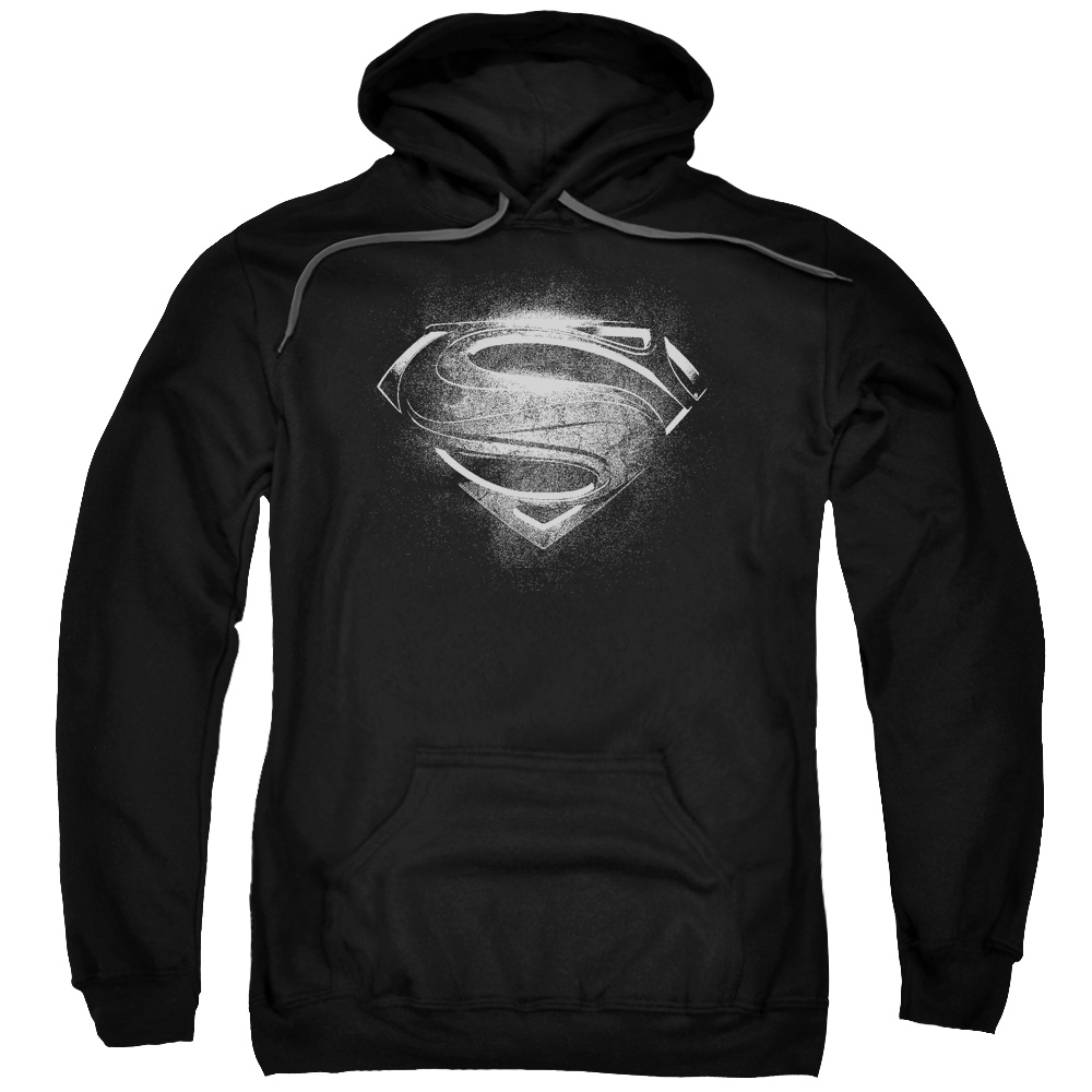 MAN OF STEEL/CONTRAST SYMBOL-ADULT PULL-OVER HOODIE-BLACK-2X
