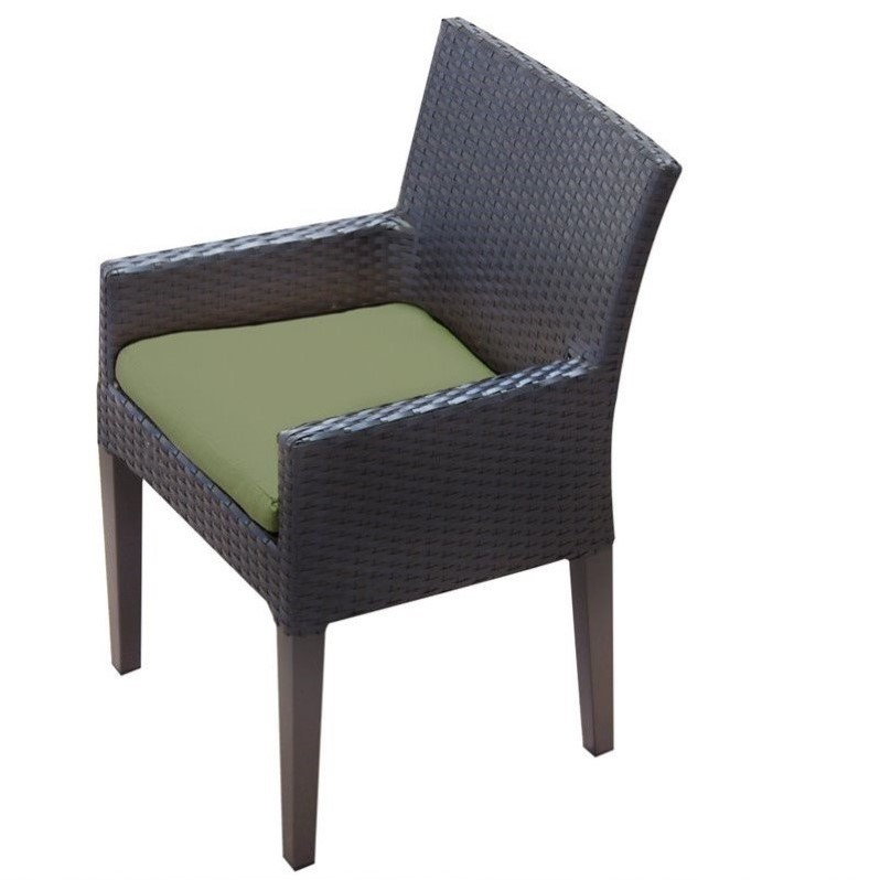 Tkc Napa Wicker Patio Arm Dining Chairs In Cilantro Set Of 2