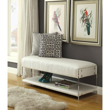 inspired home jeffrey faux leather bedroom bench