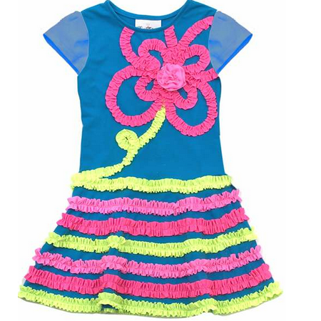 Rare Editions Dress - Turquoise Girls Knit Dress  2T