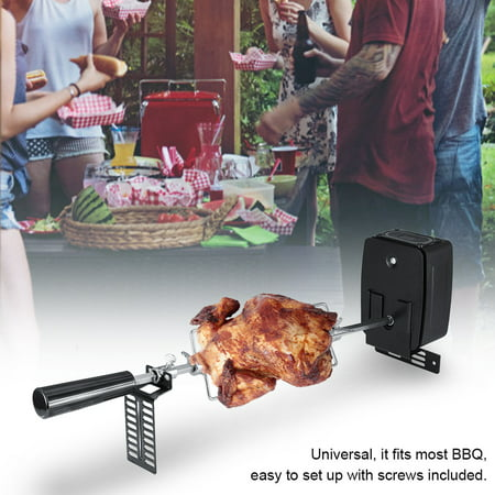 FAGINEY Universal Rotisserie Kit for Barbecue Stainless Steel Spit Rod Meat Forks with Electric Motor, Grill Rotisserie Kit Universal, Rotisserie Kit