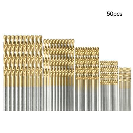50pcs HSS Plating Titanium Twist Drill Bit Set Metric System 1.0-3.0mm High Speed Steel Titanium Coated Twist Drills Bits Woodworking Wood Drilling