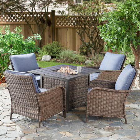 Better Homes & Gardens Brookhaven 5-Piece Wicker Fire Pit Conversation Set ()