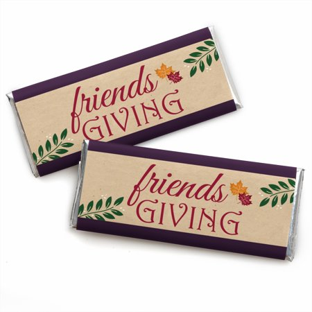 Friends Thanksgiving Feast - Candy Bar Wrapper Friendsgiving Party Favors - Set of 24 - Thanksgiving Party Games