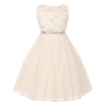 Little Girls Ivory Sparkle Sequin Lace Chiffon Flower Girl - Ivory Lace Girls Dress