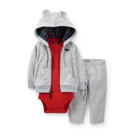 Carter Infant Boy Gray Fleece Moose Outfit Sweat Pants Creeper Hoodie Jacket