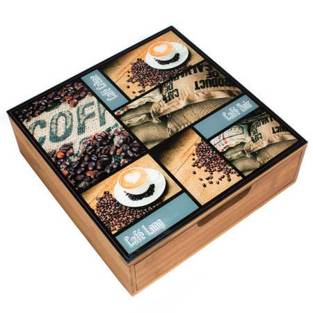 Decorative Bamboo Tea & Coffee Pod Drawer Or Countertop Storage Box w/Glass Top