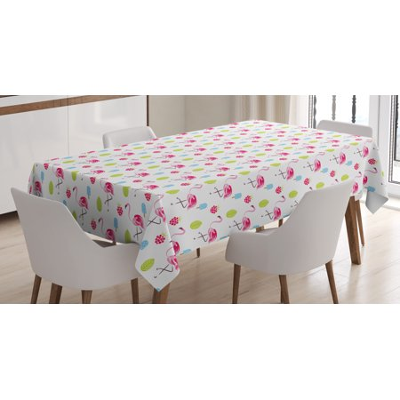 Flamingo Tablecloth, Cheerful Exotic Summer Holiday Pattern Cartoon Ice Cream Raspberry Palm Leaves, Rectangular Table Cover for Dining Room Kitchen, 52 X 70 Inches, Multicolor, by Ambesonne ()