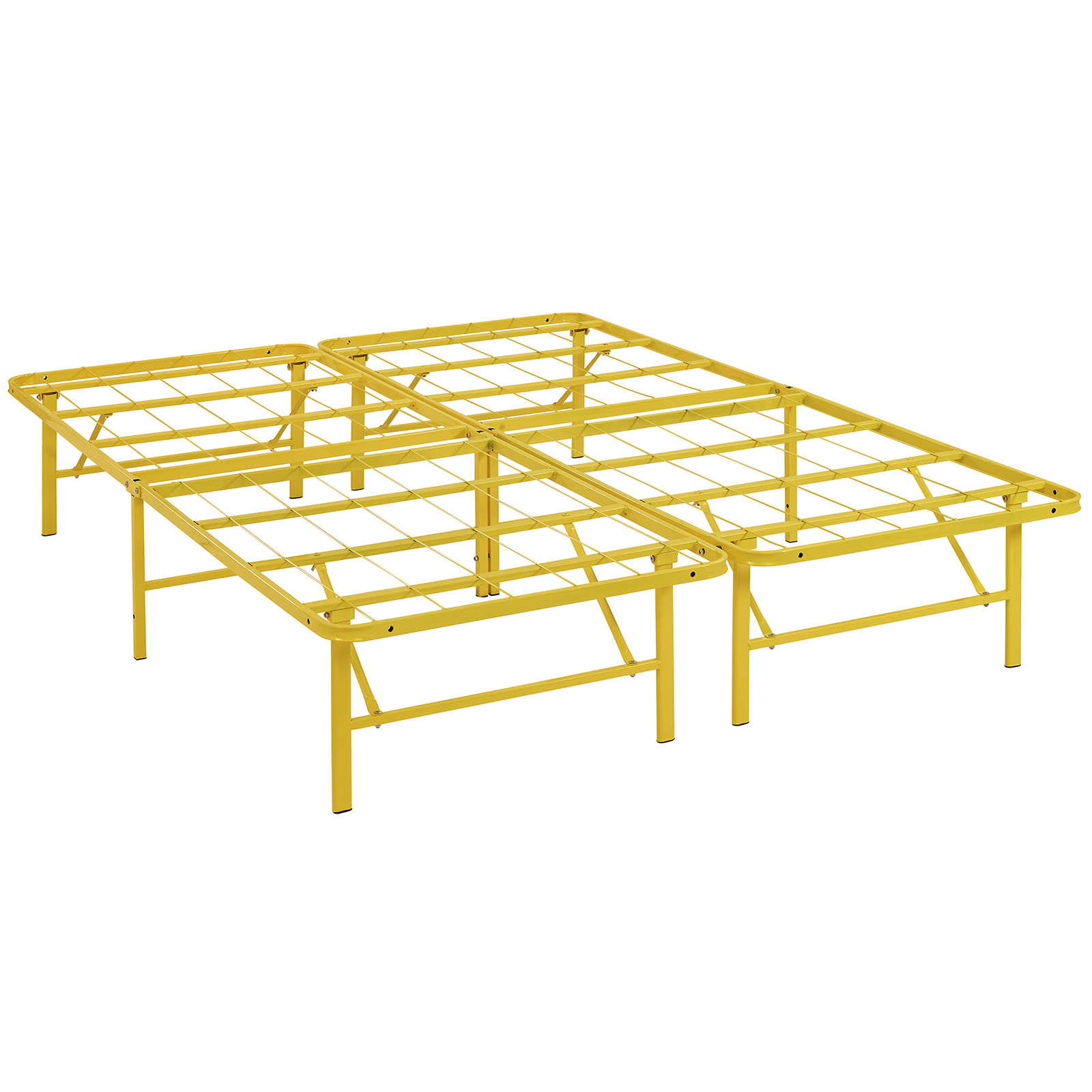 Modern Contemporary Urban Design Bedroom Full Size Platform Bed Frame, Yellow, Metal Steel