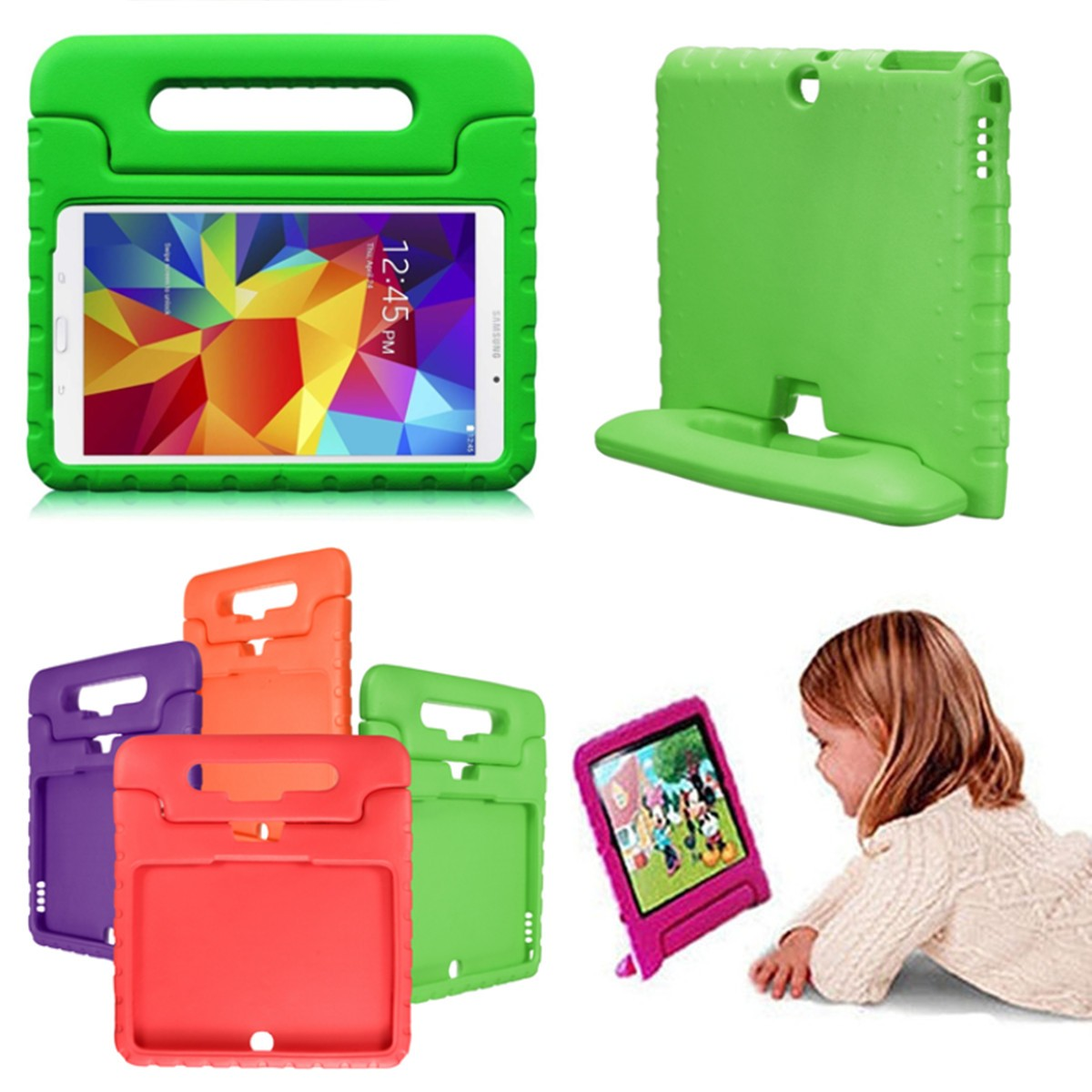 Galaxy Tab 4 10.1 Case- 1Pcs Child Kid EVA Shockproof Thick Foam Stand Kickstand Hard Case Handle Computers & Accessories Cover Case