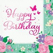 Floral Fairy Happy Birthday Napkins, 48 Count