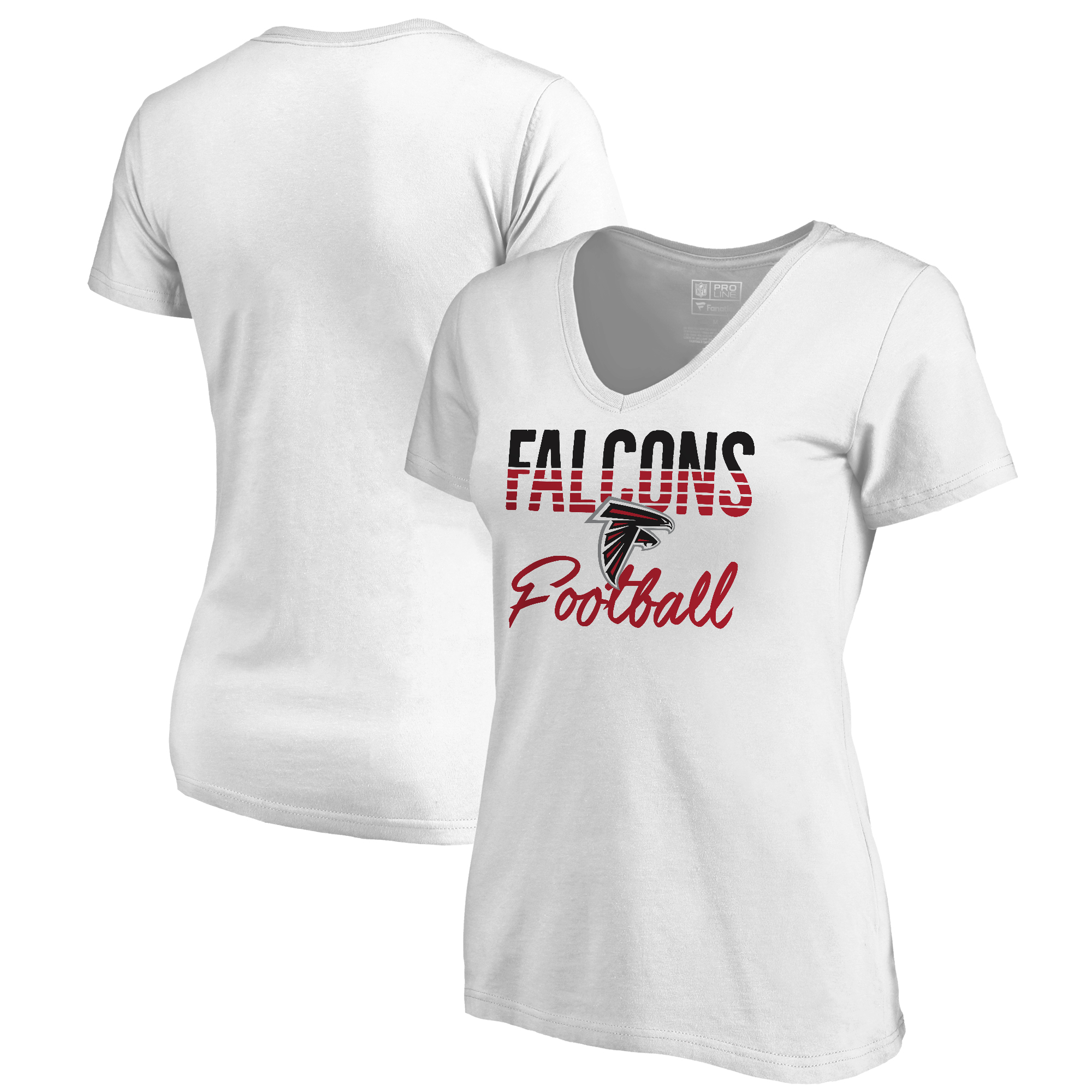 Atlanta Falcons NFL Pro Line by Fanatics Branded Women's Free Line Plus Size V-Neck T-Shirt - White