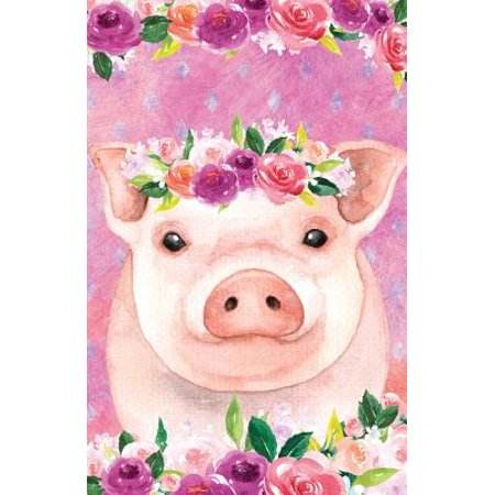 Bullet Journal for Animal Lovers Pink Pig in Flowers: 162 Numbered Pages with 150 Dot Grid Pages, 6 Index Pages and 2 Key Pages in Easy to Carry 5.5 X 8.5 Size.