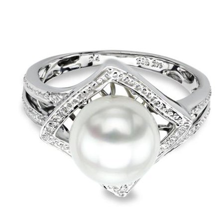 DaVonna 14k White Gold White Round Akoya Pearl Illusion Ring (9-9.5 mm) Size 7