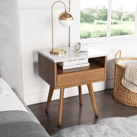 Nathan James James White and Brown Walnut Finish Faux Marble Top Storage Accent Side or End Table, Different Shapes