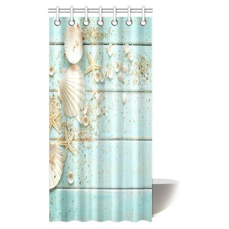 mypop seashells decor shower curtain seashells and starfish with sand on wood surface ocean. Black Bedroom Furniture Sets. Home Design Ideas