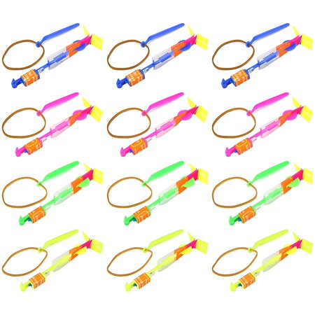 Light Up 12 VT Set Of LED Sling Shot Flare Arrow Party Favor Toy Flyers for Kids, Children
