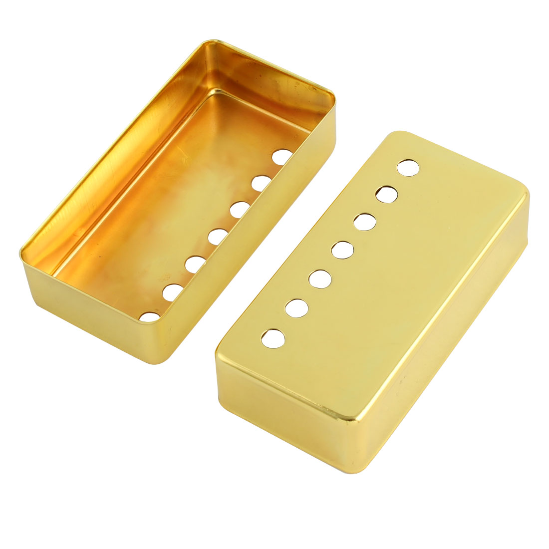 Electric Guitar Accessories Metal Pickup Cover Gold Tone 58mm Pole Spacing 2pcs