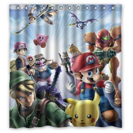 DEYOU Japanese Anime Collection Nintendo Pikachu Mario Shower Curtain Polyester Fabric Bathroom Size 66x72