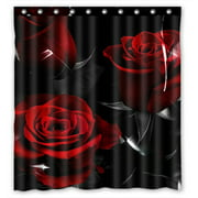 GCKG Fire Red Rose And Black Leaves Bathroom Shower Curtain, Shower Rings Included 100% Polyester Waterproof Shower Curtain 66x72 Inches