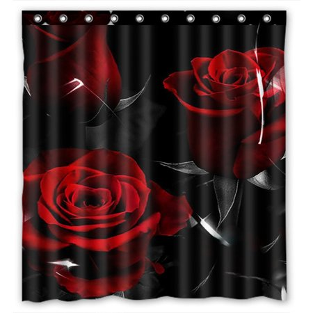 GCKG Fire Red Rose And Black Leaves Bathroom Shower Curtain, Shower Rings Included 100% Polyester Waterproof Shower Curtain 66x72 (Quot Shower Rose)