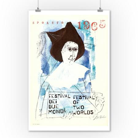 Spoleto 1965 - Festival of Two Worlds Vintage Poster (artist: Ben Shahn) Italy c. 1965 (9x12 Art Print, Wall Decor Travel Poster)