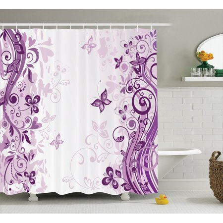 Butterflies Decoration Shower Curtain Set, Illustration Of Fairy Butterflies With Swirling Flowers Silhouette Floral Decor, Bathroom Accessories, 69W X 70L Inches, By Ambesonne](Butterfly Bathroom)