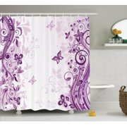 Butterflies Decoration Shower Curtain Set, Illustration Of Fairy Butterflies With Swirling Flowers Silhouette Floral Decor, Bathroom Accessories, 69W X 70L Inches, By Ambesonne