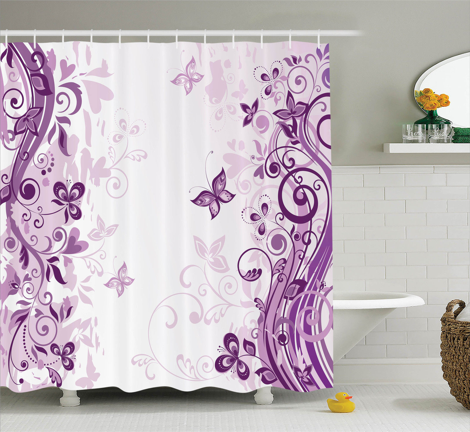 Butterflies Decoration Shower Curtain Set, Illustration Of Fairy Butterflies  With Swirling Flowers Silhouette Floral Decor