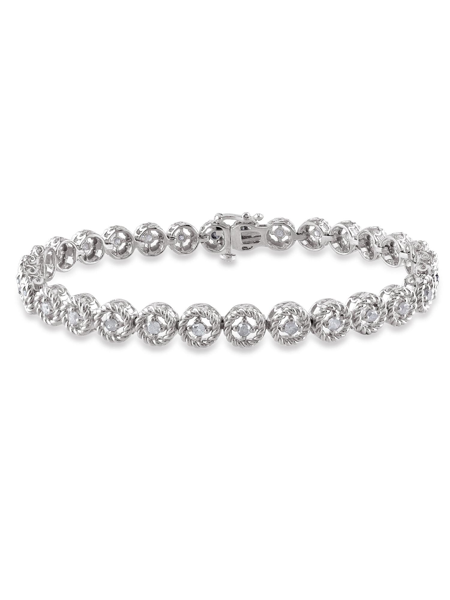 """Miabella 1 Carat T.W. Diamond Sterling Silver Halo Tennis Bracelet, 7"""" by Generic"""