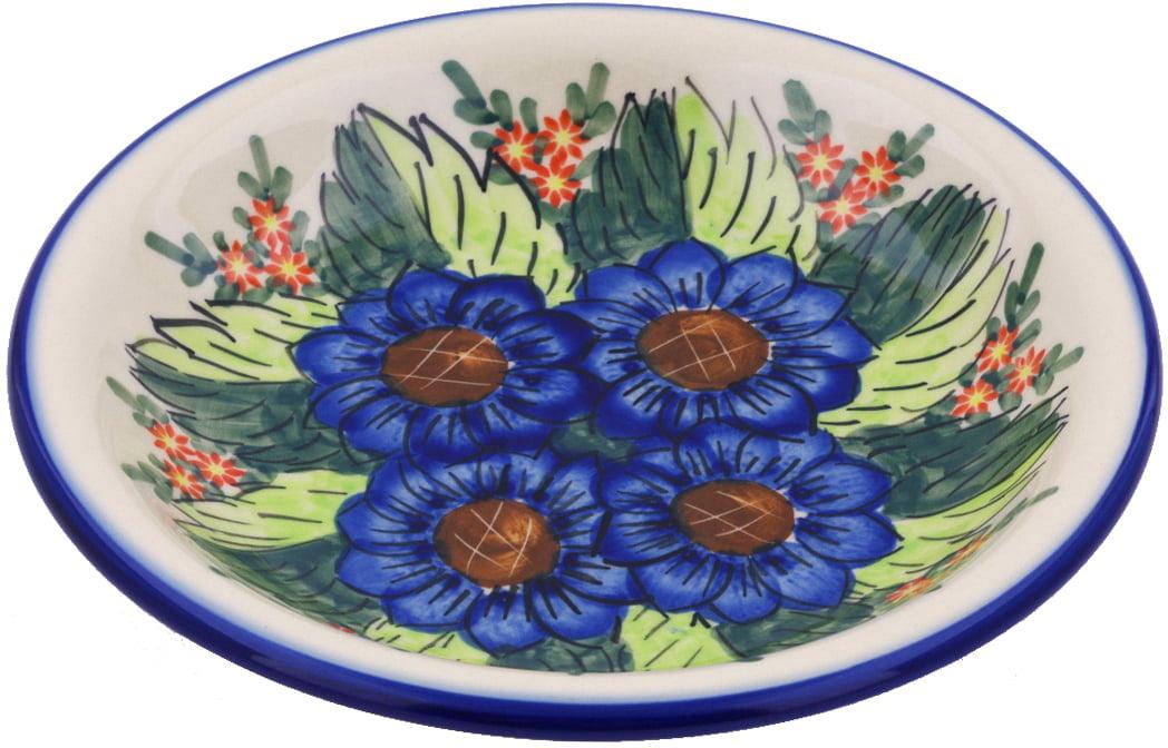 Polish Pottery 9-inch Pasta Bowl (Blue Bouquet Theme) Signature UNIKAT Hand Painted in Boleslawiec, Poland +... by Ceramika Bona