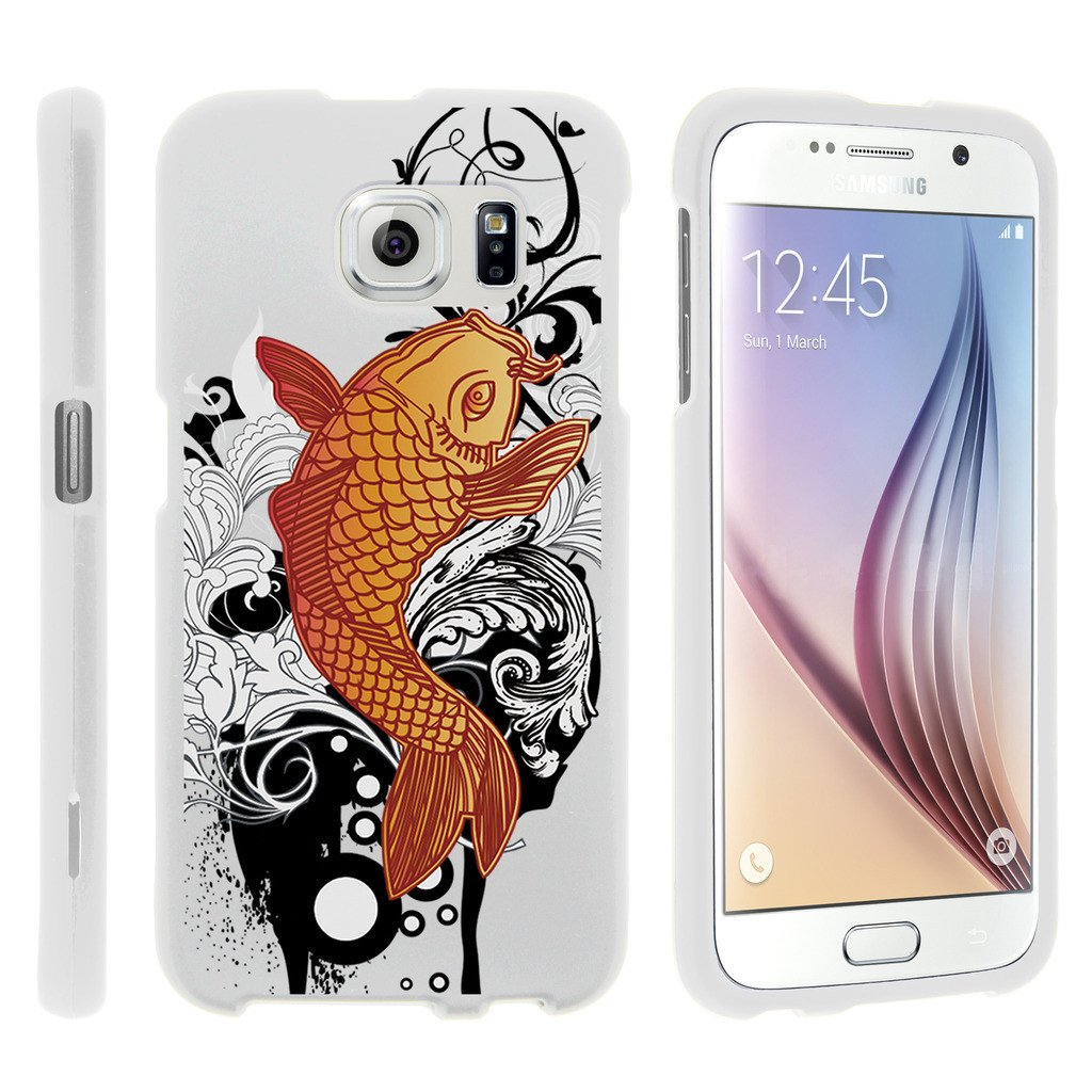 Samsung Galaxy S6 Edge G925, [SNAP SHELL][White] 1 Piece Snap On Rubberized Hard White Plastic Cell Phone Case with Exclusive Art -  Koi Fish