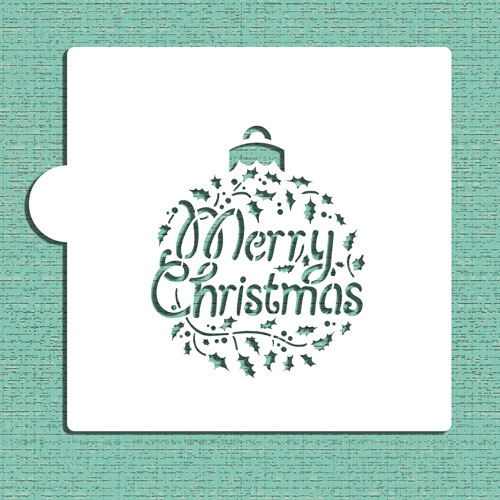 Designer Stencils Merry Christmas Holly Ornament Cookie and Craft Stencil CM074