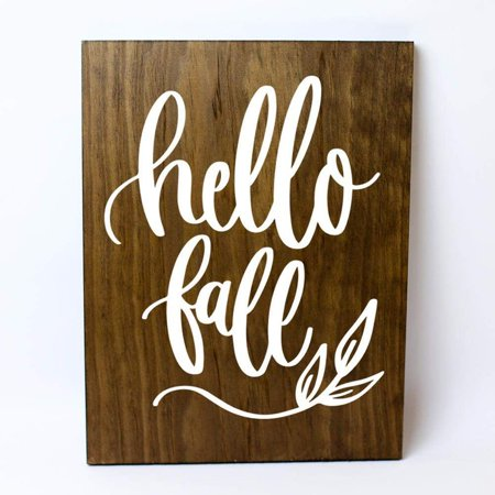 Hello Fall Solid Pine Wood Wall Plaque Sign ()