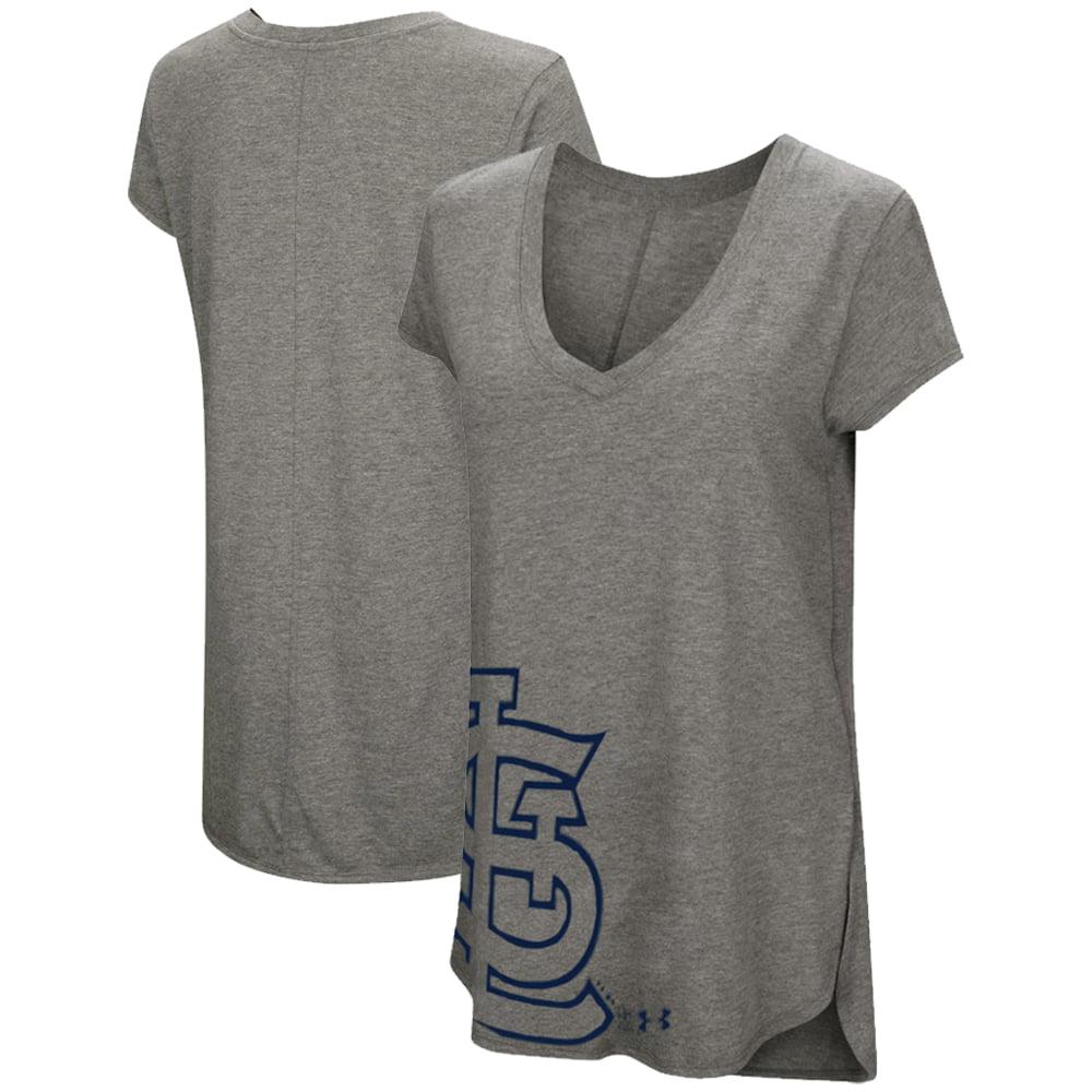 St. Louis Cardinals Under Armour Women's Pride Offset Logo V-Neck Performance Tri-Blend T-Shirt - Heathered Gray