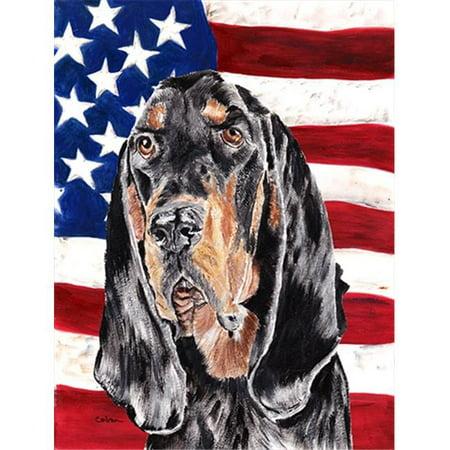 Coonhound Black and Tan USA American Flag Flag Garden