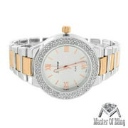 Catlin Pave Womens Watch White Rose Gold Tone Geneva MK Style Platinum Steel