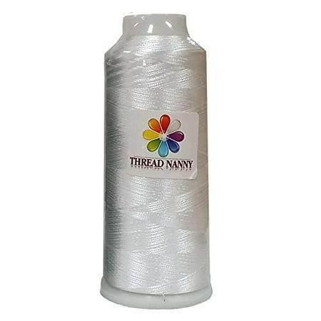 Extra Large Cone Bobbin Thread White Machine Embroidery - 5500 yards - ThreadNanny
