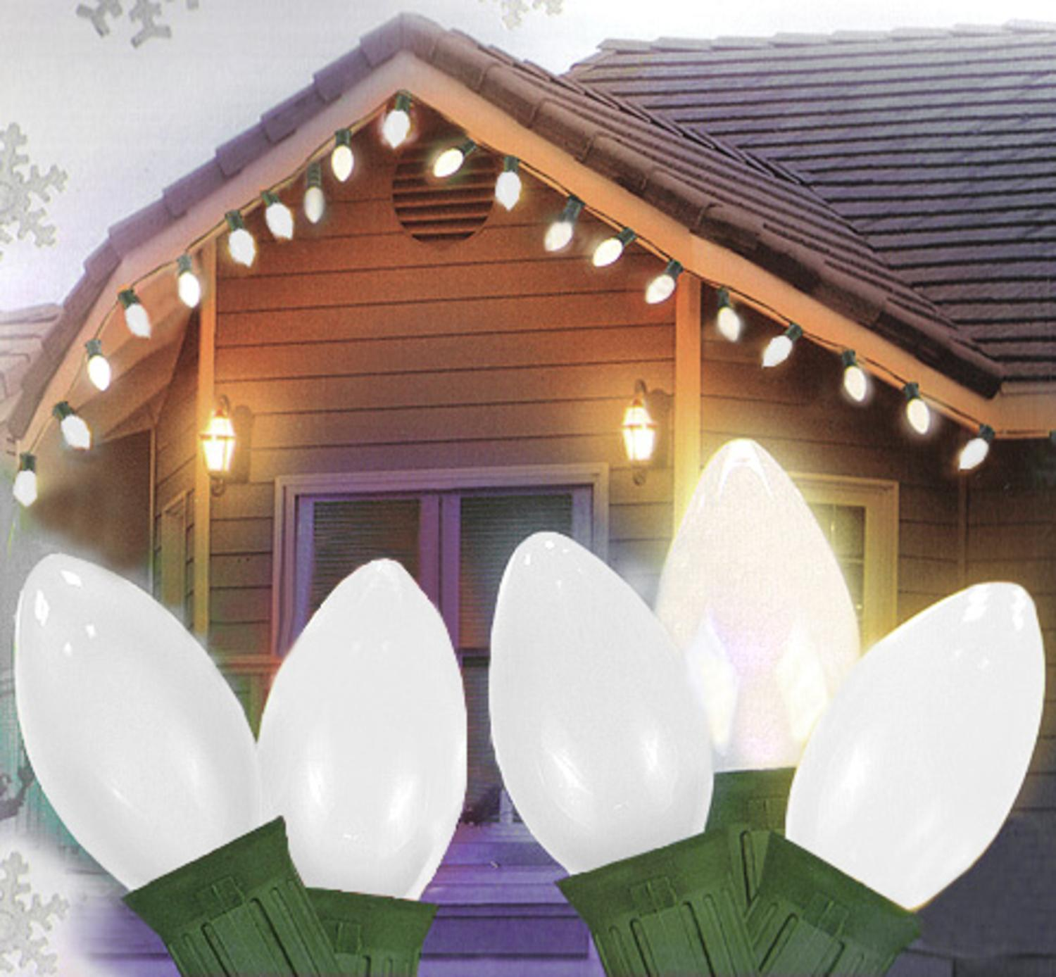 White christmas lights - 25 Ceramic Style Opaque White Led Retro Style C7 Christmas Lights Green Wire