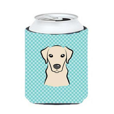 Checkerboard Blue Yellow Labrador Can Or Bottle Hugger, 12 Oz. - image 1 de 1