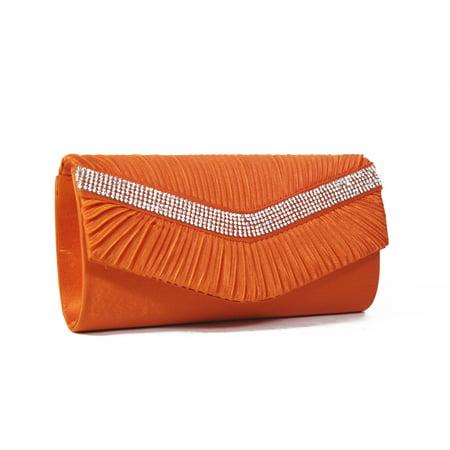 - Pleated Satin Rhinestone Evening Clutch Handbag Purse