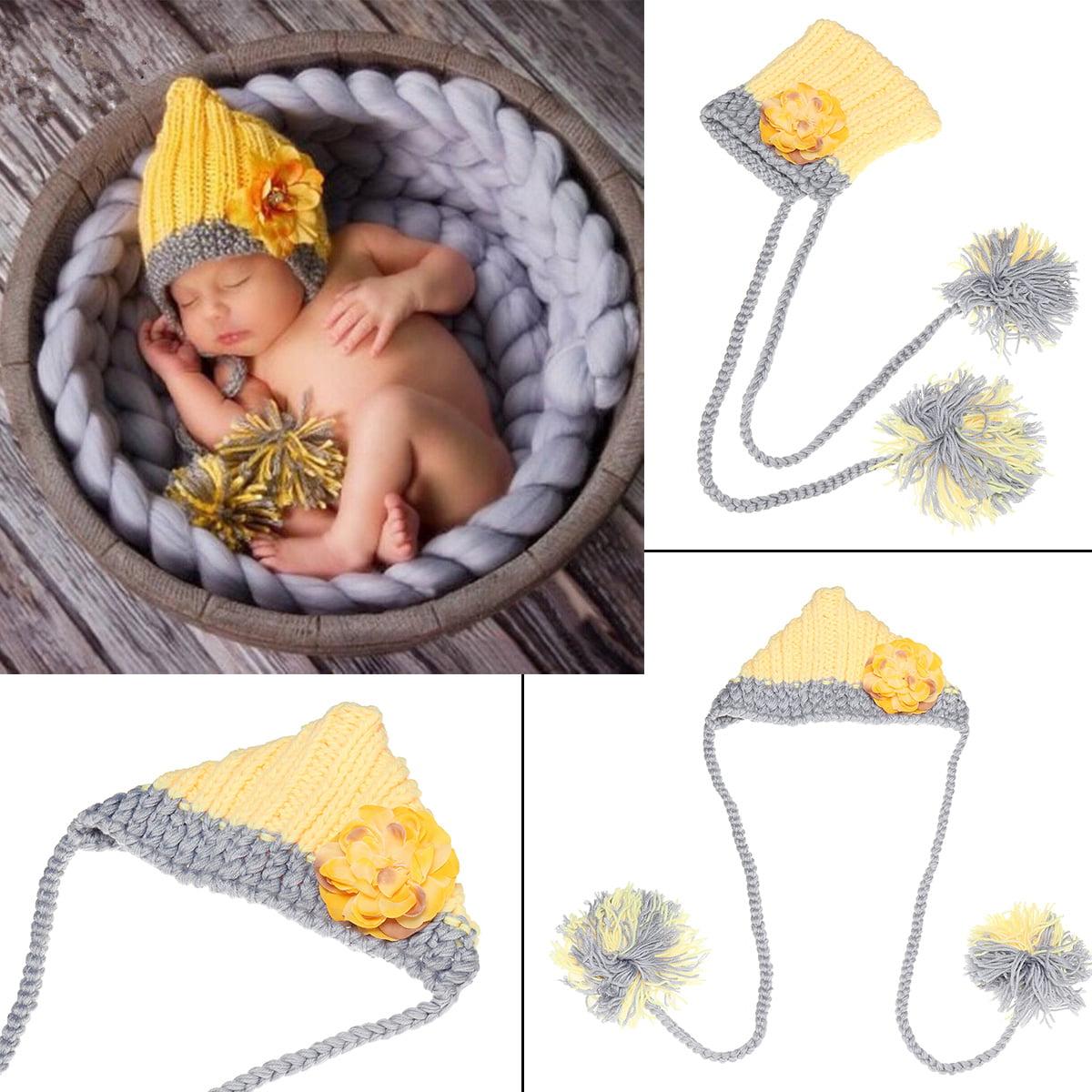 6a68d44ac Unisex Newborn Baby Handmade Soft Kintted Crochet Yellow Flower Hat ...
