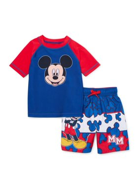 Mickey Mouse Toddler Boy Rashguard & Swim Trunks, 2pc Set